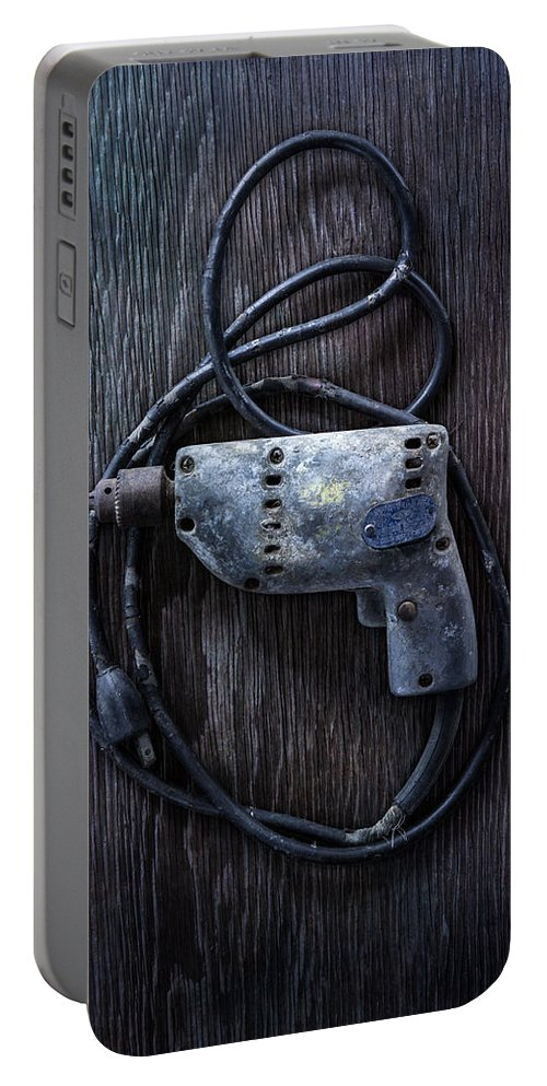 Industrial Portable Battery Charger featuring the photograph Tools On Wood 28 by YoPedro