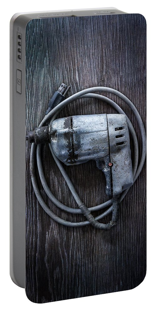 Industrial Portable Battery Charger featuring the photograph Tools On Wood 30 by YoPedro