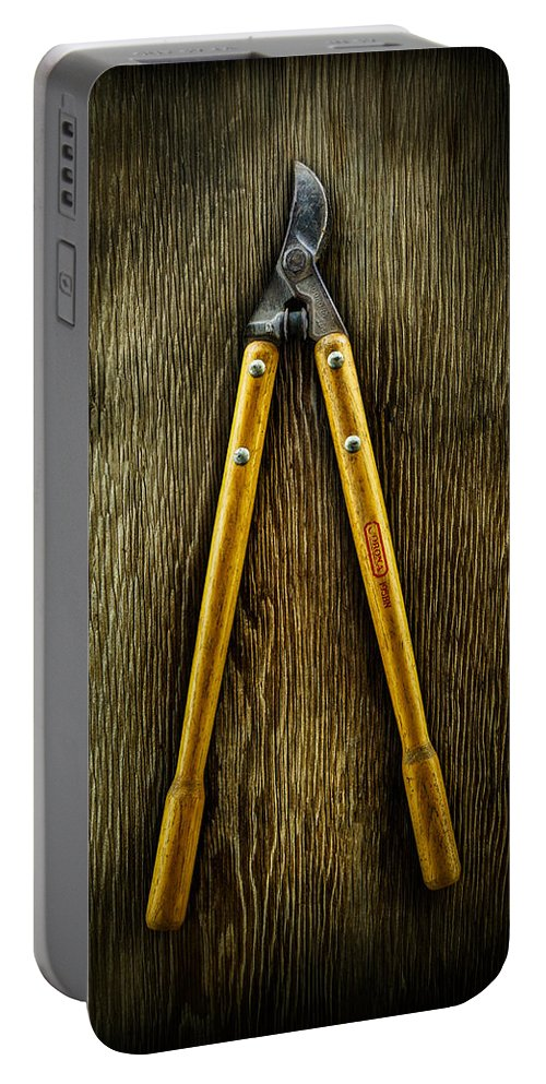 Industrial Portable Battery Charger featuring the photograph Tools On Wood 34 by YoPedro