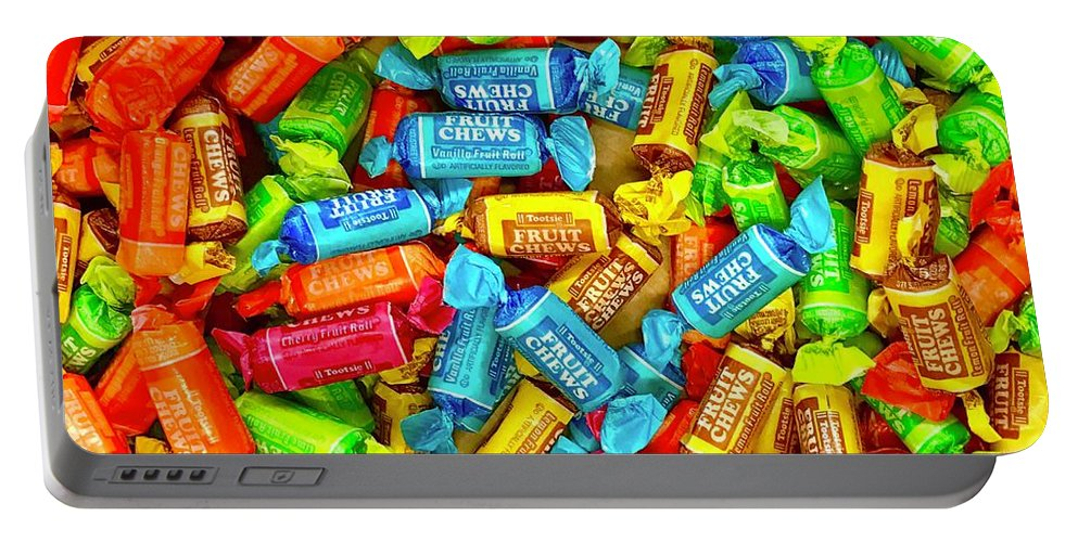 Candy Portable Battery Charger featuring the photograph Tootsie Fruit Chews by Daniel Thompson