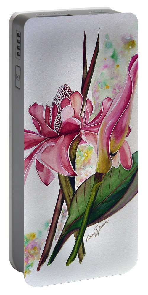 Flower Painting Floral Painting Botanical Painting Flowering Ginger. Portable Battery Charger featuring the painting Torch Ginger Lily by Karin Dawn Kelshall- Best