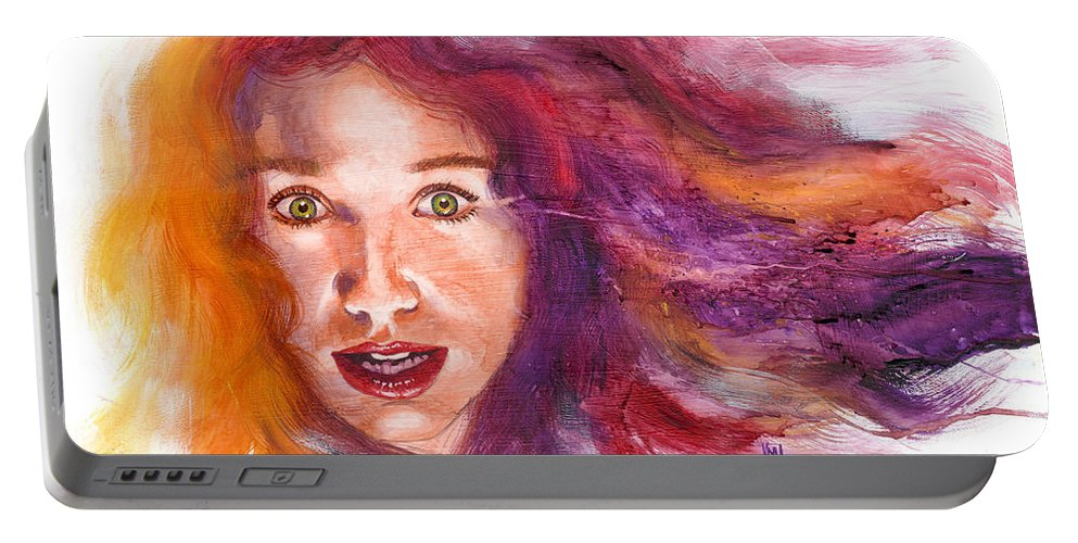Musicians Portable Battery Charger featuring the painting Tori Rainbow by Ken Meyer jr