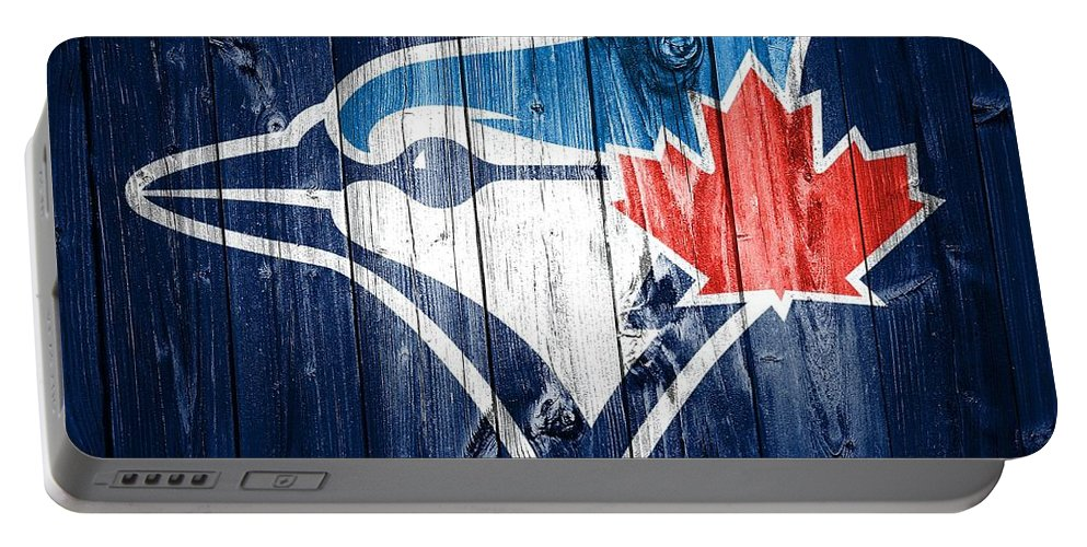 Toronto Blue Jays Barn Door Portable Battery Charger featuring the mixed media Toronto Blue Jays Barn Door by Dan Sproul