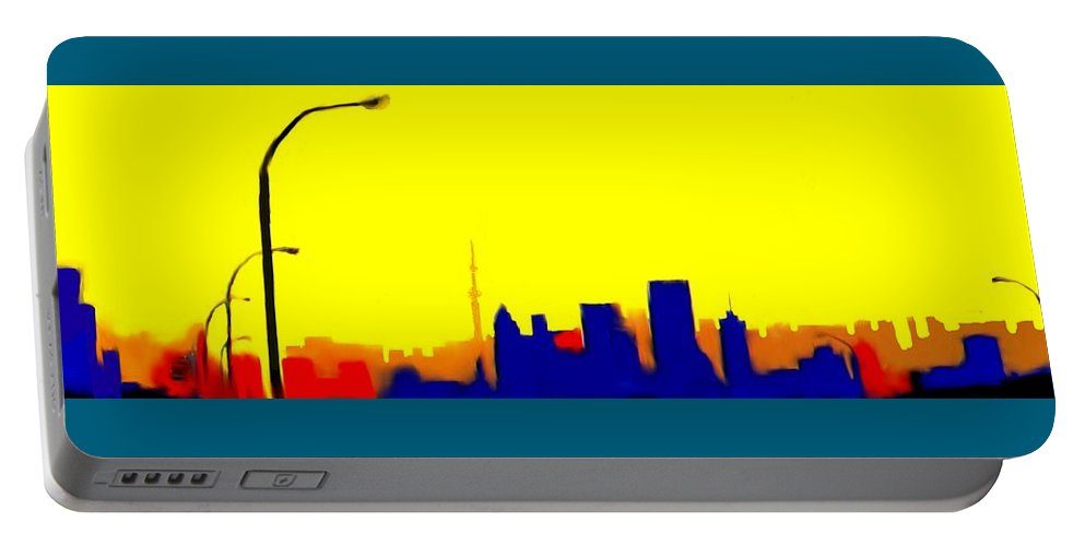 Toronto Portable Battery Charger featuring the digital art Toronto C N Tower From Front Street Bridge by Ian MacDonald