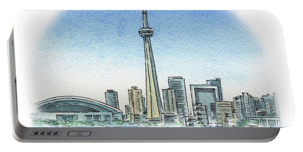 Toronto Portable Battery Charger featuring the painting Toronto Canada City Skyline by Irina Sztukowski