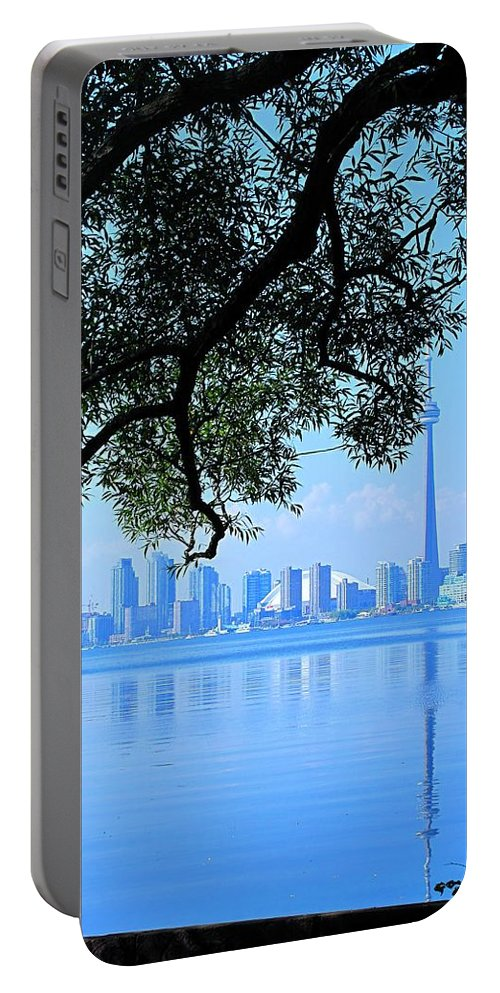 Cn Tower Portable Battery Charger featuring the photograph Toronto Framed by Ian MacDonald