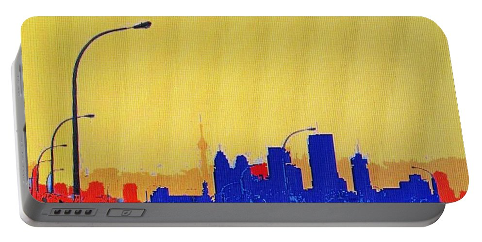 Toronto Portable Battery Charger featuring the photograph Toronto Lemon Skyline by Ian MacDonald