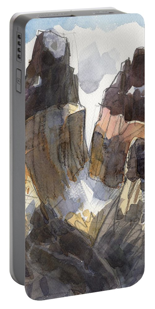 Landscape Portable Battery Charger featuring the painting Torres Del Paine, Chile by Judith Kunzle