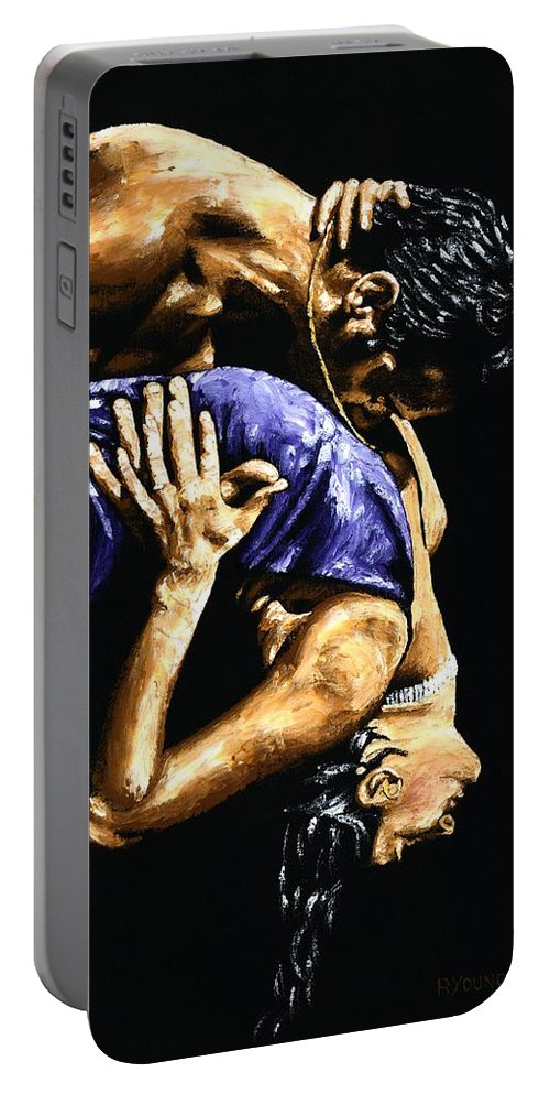 Tango Portable Battery Charger featuring the painting Torrid Tango by Richard Young