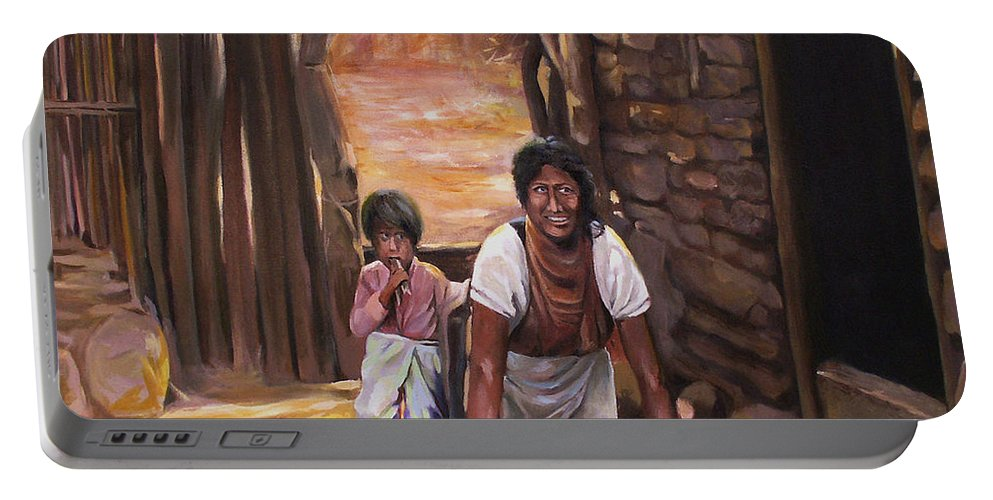 Mexican Portable Battery Charger featuring the painting Tortillas De Madre by Nancy Griswold