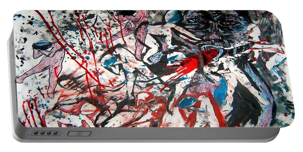 Tortured Portable Battery Charger featuring the mixed media Tortured Soul by Karen Elzinga