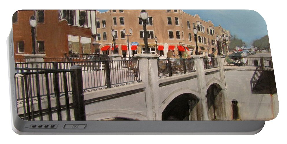 Milwaukee Portable Battery Charger featuring the mixed media Tosa Village Bridge by Anita Burgermeister