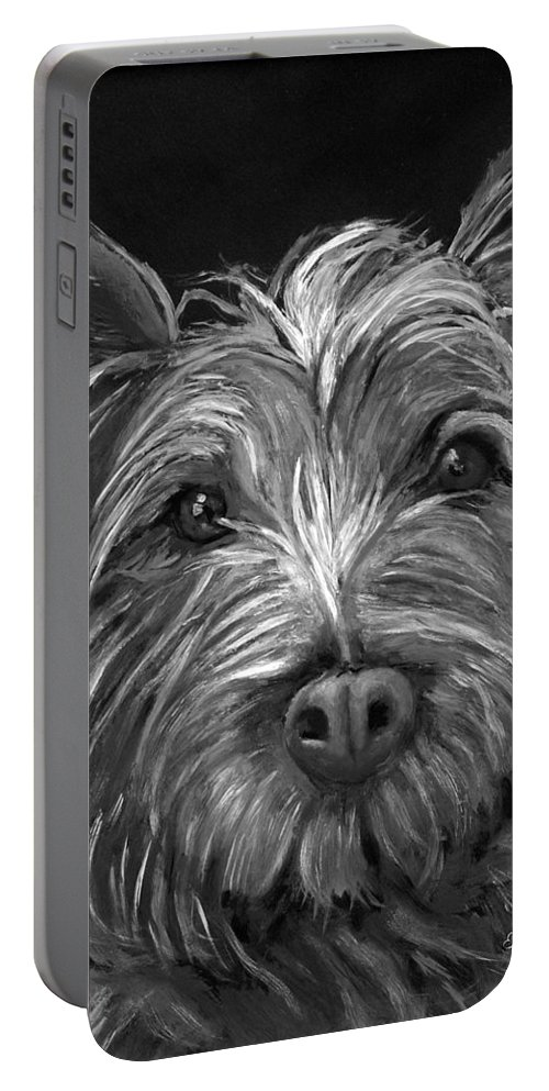 Dogs Portable Battery Charger featuring the painting Tosha The Highland Terrier by Portraits By NC