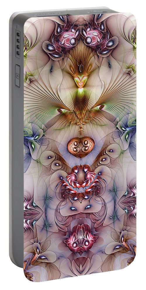 Abstract Portable Battery Charger featuring the digital art Totemic Isotropy by Casey Kotas