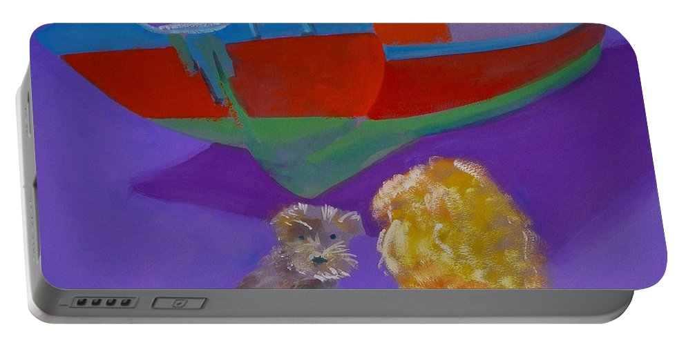 Blonde Portable Battery Charger featuring the painting Toto by Charles Stuart