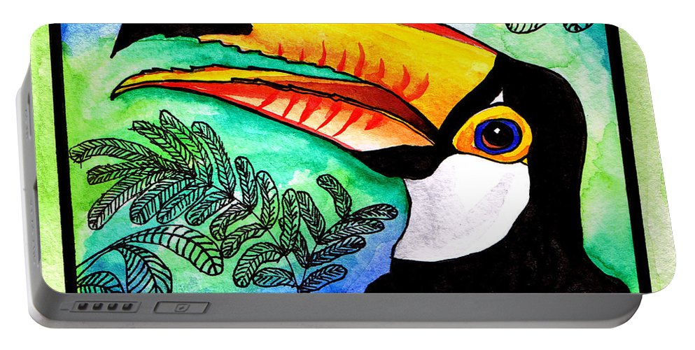 Toucan Portable Battery Charger featuring the painting Toucan by Chris Crowley