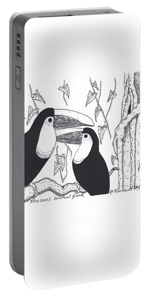 Ink Portable Battery Charger featuring the drawing Toucans Central Park by Vincent Mantia
