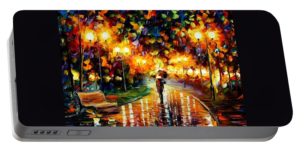 Afremov Portable Battery Charger featuring the painting Touch Of Rain by Leonid Afremov
