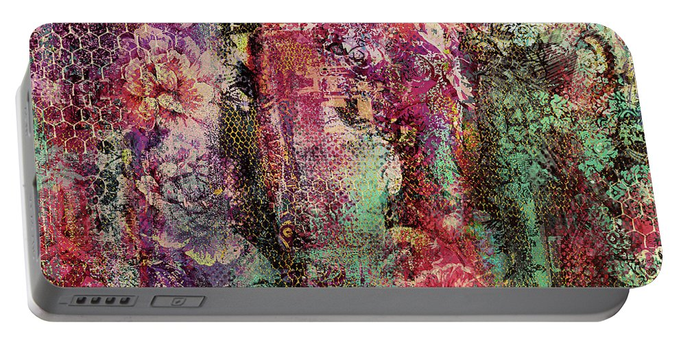 Abstract Floral Portable Battery Charger featuring the digital art Touch Of Velvet by Grace Iradian