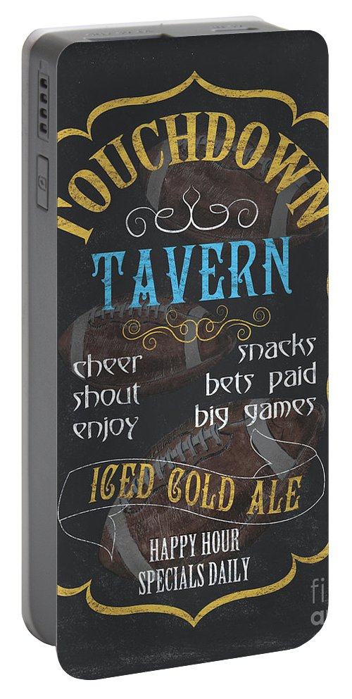 Beer Portable Battery Charger featuring the painting Touchdown Tavern by Debbie DeWitt