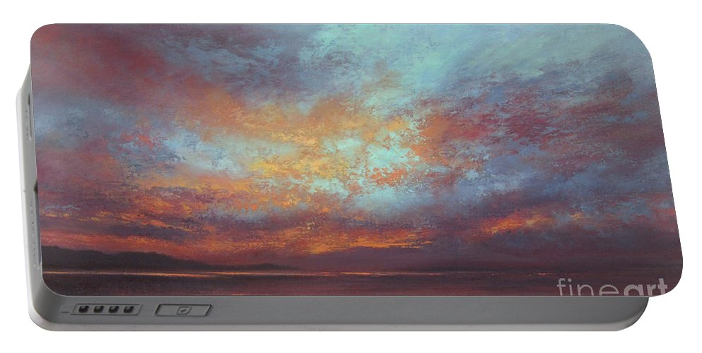 Sunset Portable Battery Charger featuring the painting Touches Of Light by Valerie Travers