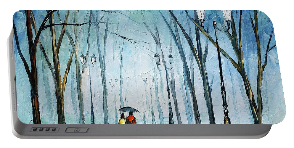 Afremov Portable Battery Charger featuring the painting Touching Fog by Leonid Afremov