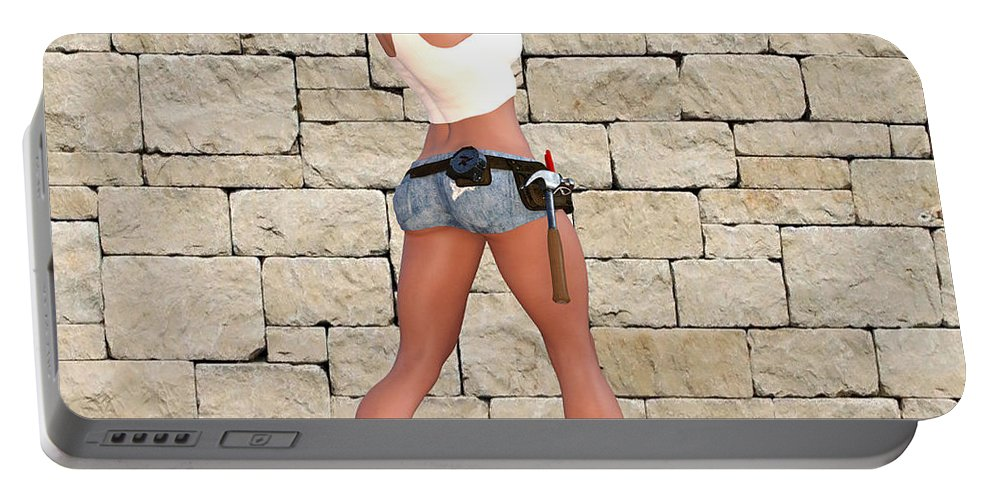 Portable Battery Charger featuring the digital art Tough Girl by Wipani Jam