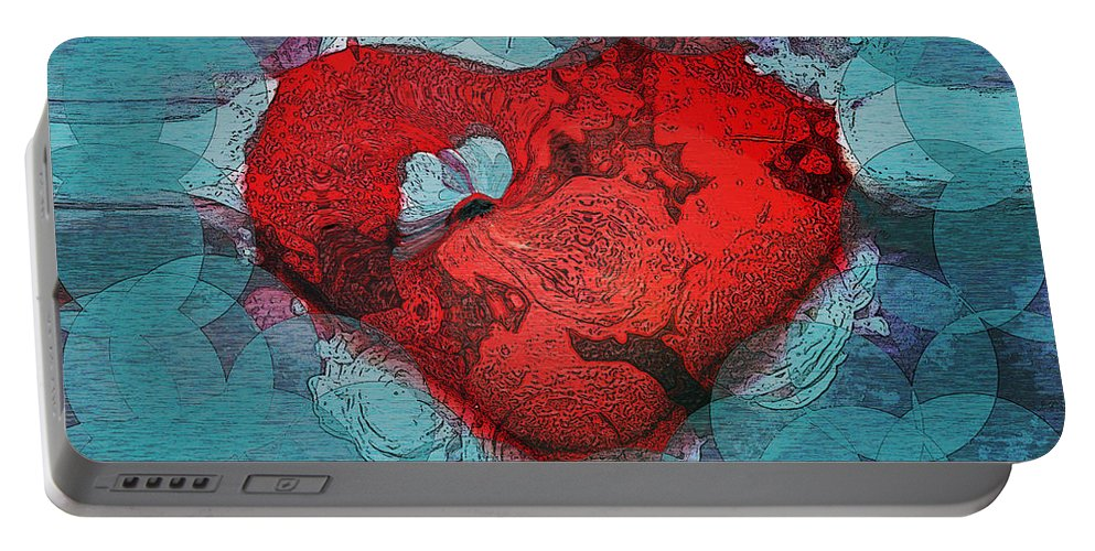 Abstract Art Portable Battery Charger featuring the digital art Tough Love by Linda Sannuti