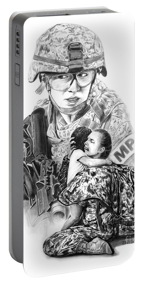 Tour Of Duty - Women In Combat Portable Battery Charger featuring the drawing Tour Of Duty - Women In Combat Le by Peter Piatt