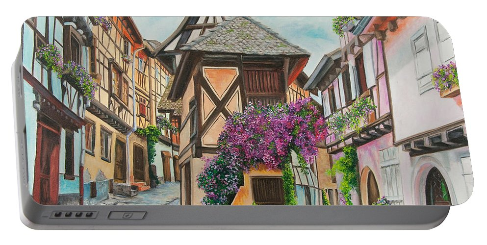 France Portable Battery Charger featuring the painting Touring In Eguisheim by Charlotte Blanchard