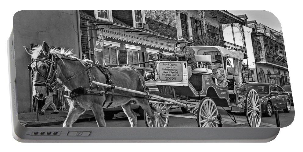 French Quarter Portable Battery Charger featuring the photograph Touring The French Quarter Monochrome by Steve Harrington