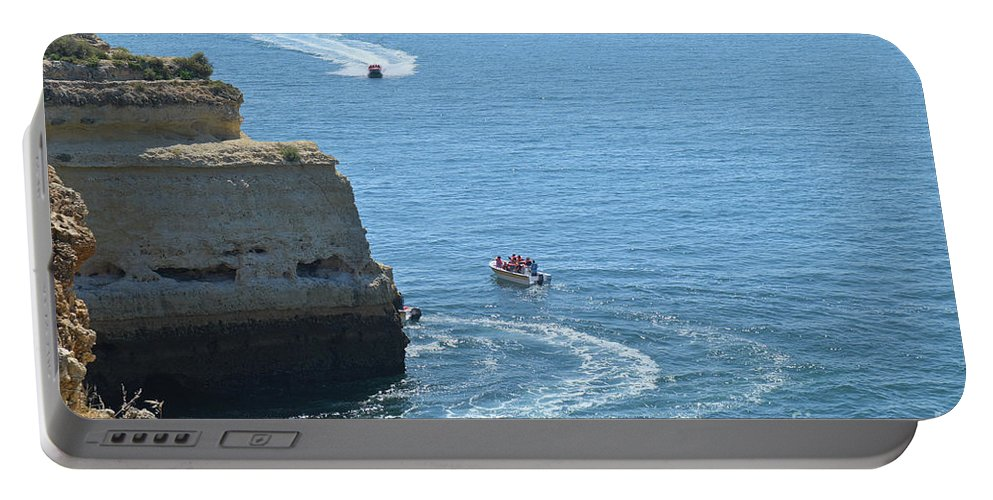 Sky Portable Battery Charger featuring the photograph Tourist Boats And Cliffs In Algarve by Angelo DeVal