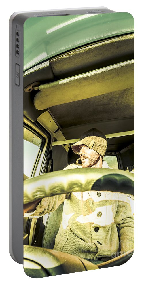 Sightseeing Portable Battery Charger featuring the photograph Tourist Sightseeing In Van by Jorgo Photography - Wall Art Gallery