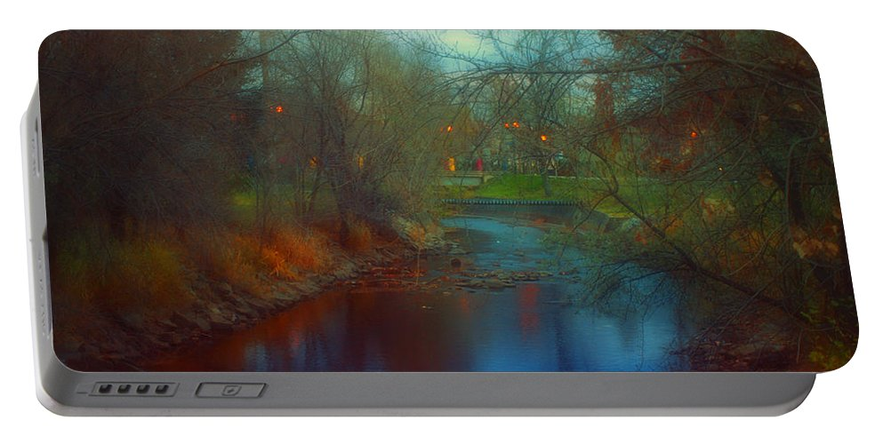 Creek Portable Battery Charger featuring the photograph Toward The City Lights by Tara Turner