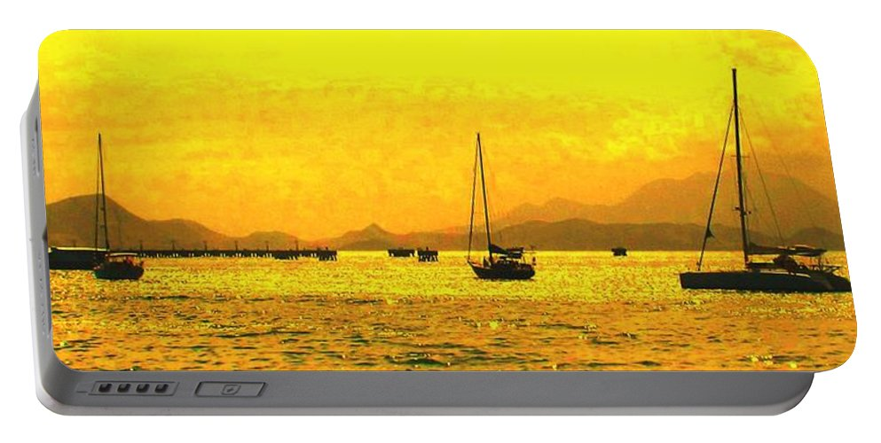 Basseterre Portable Battery Charger featuring the photograph Towards Nevis by Ian MacDonald