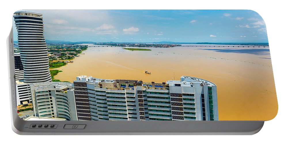 Guayaquil Portable Battery Charger featuring the photograph Tower And Guayas River by Jess Kraft