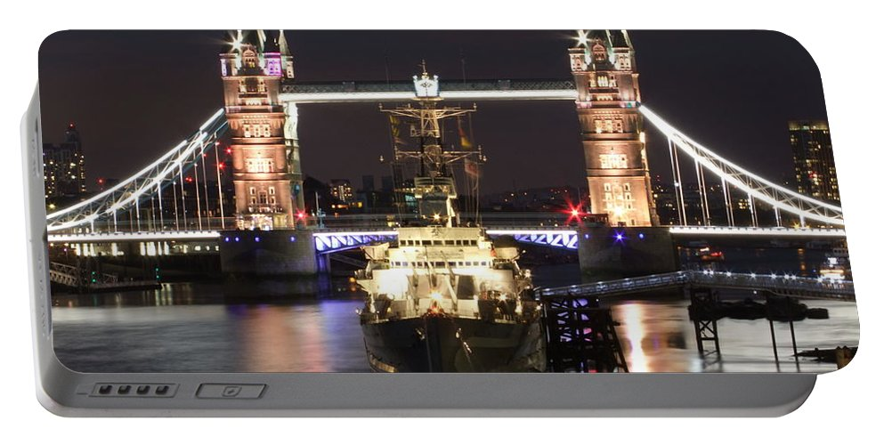Tower Bridge Portable Battery Charger featuring the photograph Tower Bridge And Hms Belfast by Andrew Ford