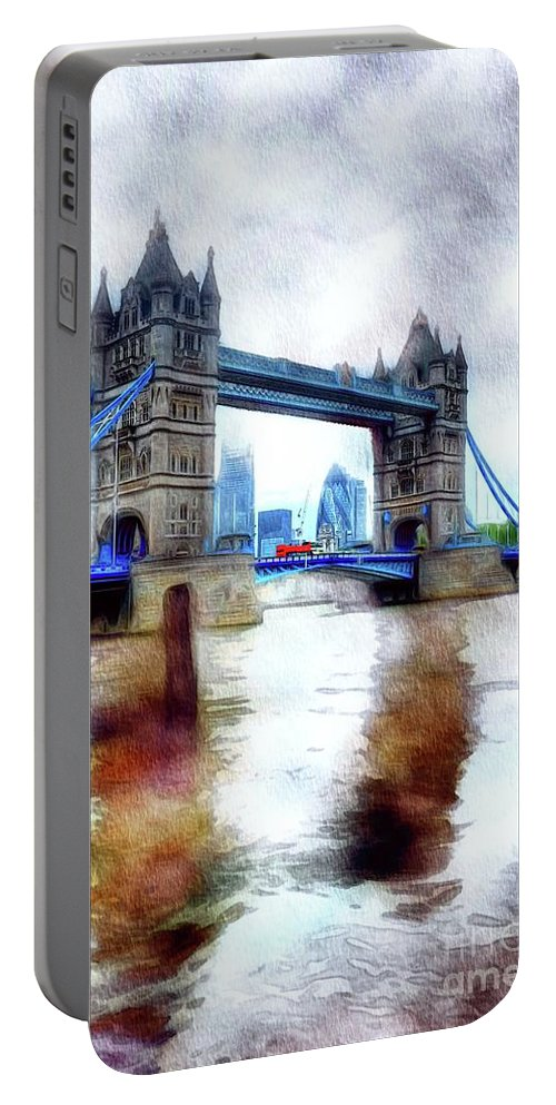 Tower Portable Battery Charger featuring the painting Tower Bridge, London by John Springfield
