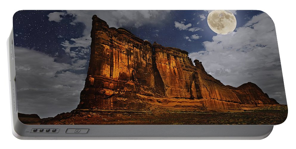 Desert Portable Battery Charger featuring the digital art The Midnight Tower by John Christopher