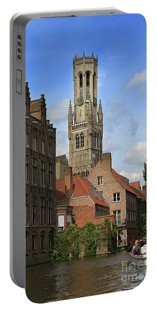 Bruges Portable Battery Charger featuring the photograph Tower Of The Belfrey From The Canal At Rozenhoedkaai by Louise Heusinkveld
