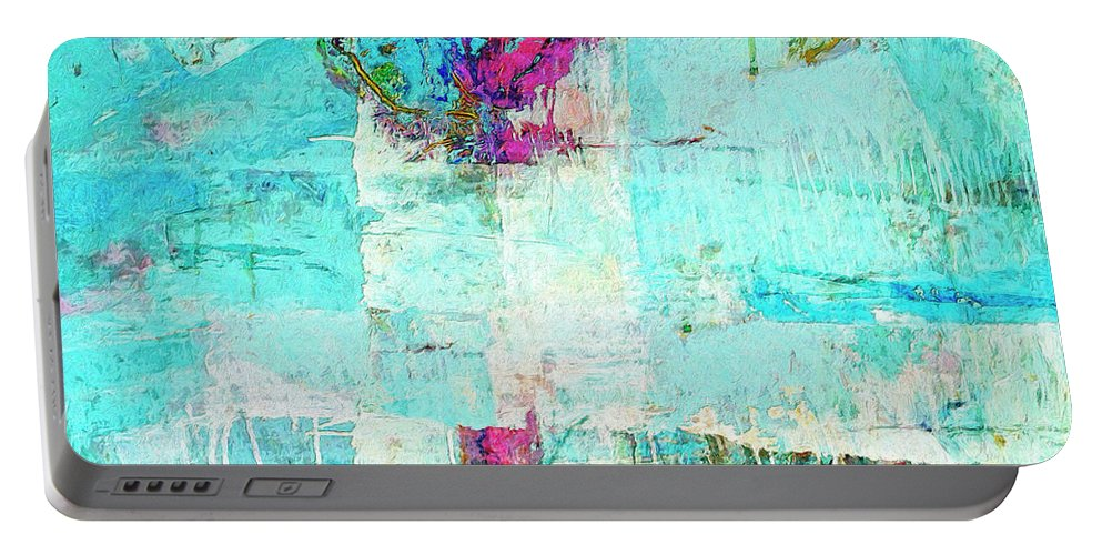 Abstract Portable Battery Charger featuring the painting Towers by Dominic Piperata