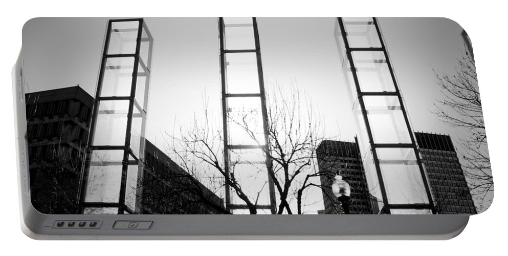Black And White Portable Battery Charger featuring the photograph Towers by Greg Fortier