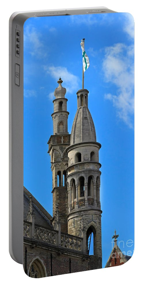 De Burg Portable Battery Charger featuring the photograph Towers Of The Town Hall In Bruges Belgium by Louise Heusinkveld