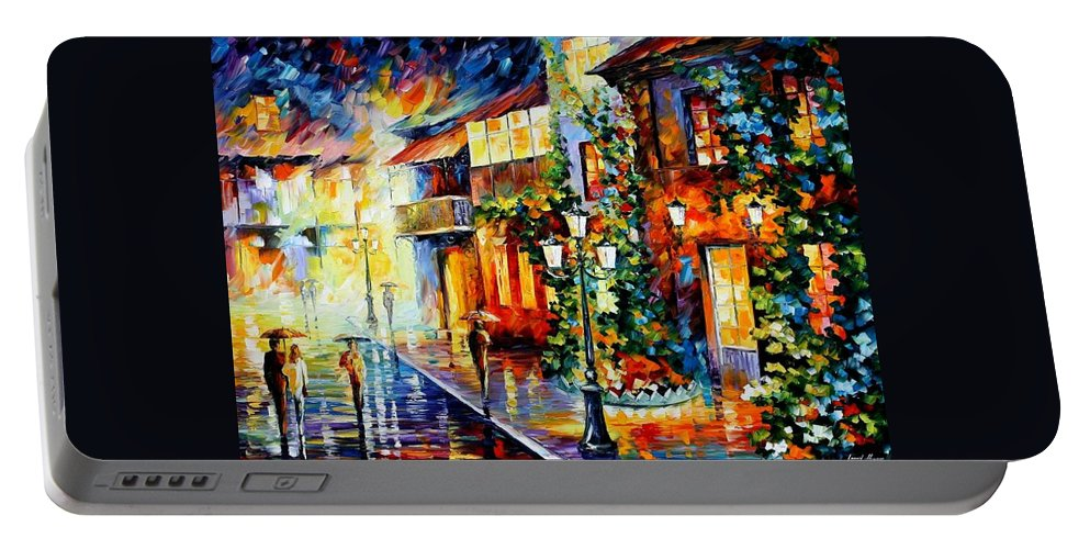 Afremov Portable Battery Charger featuring the painting Town From The Dream by Leonid Afremov