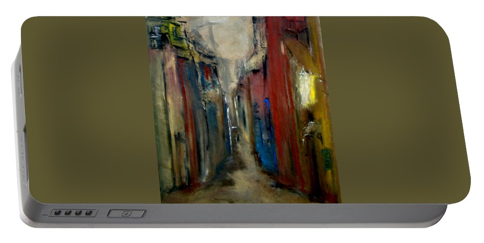 Abstract Portable Battery Charger featuring the painting Town by Rome Matikonyte