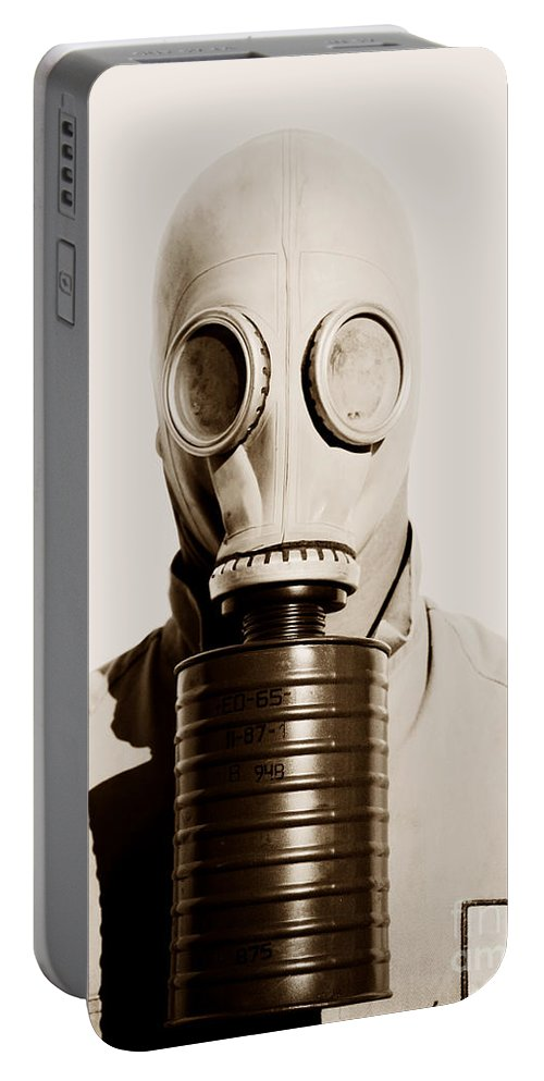 Gasmask Portable Battery Charger featuring the photograph Toxic 1942 by Jorgo Photography - Wall Art Gallery