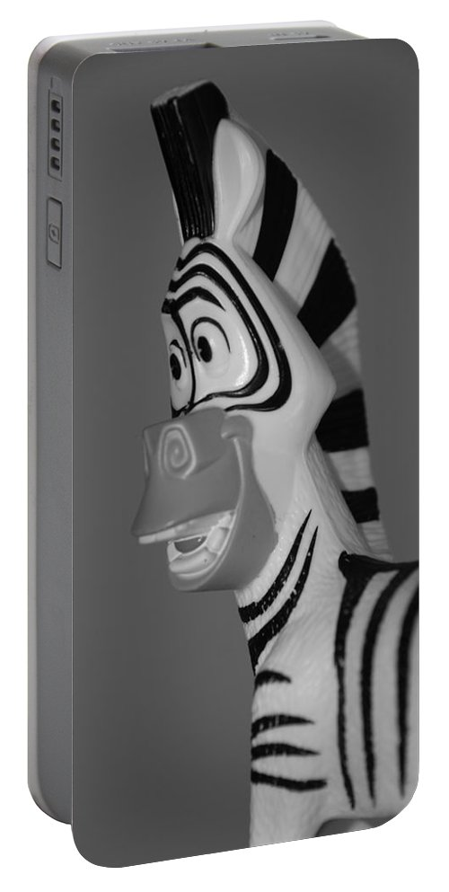 Black And White Portable Battery Charger featuring the photograph Toy Zebra by Rob Hans