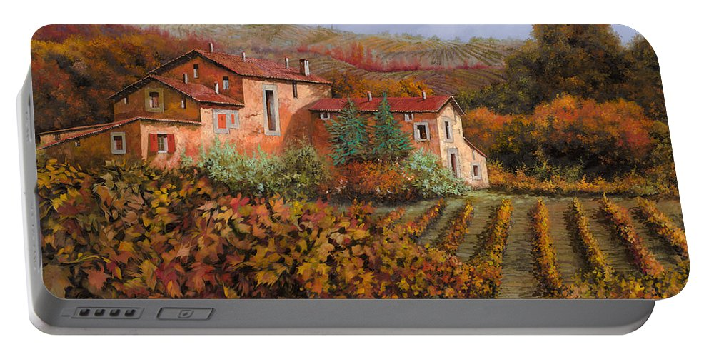 Wine Portable Battery Charger featuring the painting tra le vigne a Montalcino by Guido Borelli
