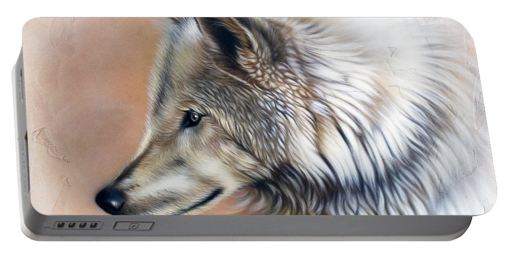 Wolves Portable Battery Charger featuring the painting Trace IIi by Sandi Baker