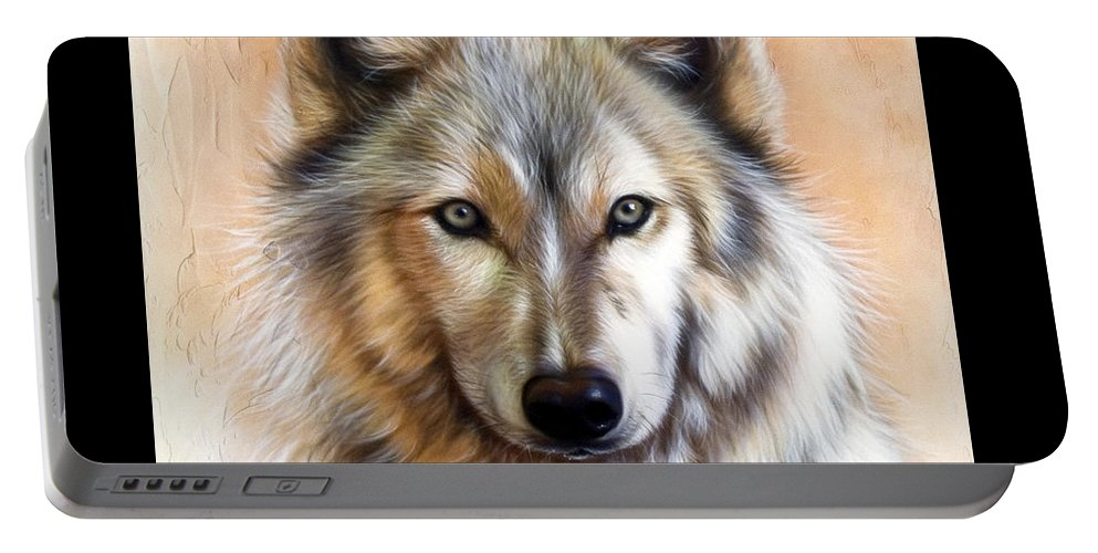 Wolves Portable Battery Charger featuring the painting Trace Two by Sandi Baker